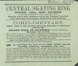 Advert for the Central Skating Rink